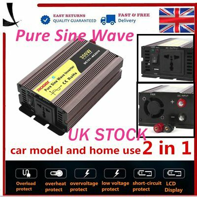 Pure Sine Wave Power Inverter 300W - 600W DC12V to AC240V Adapter Converter SU~@