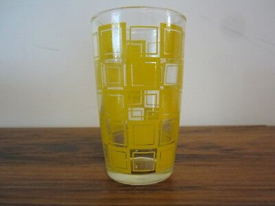Vintage Yellow Checkered Juice Glass-Swanky Swig?- Retro Kitchen Collectible