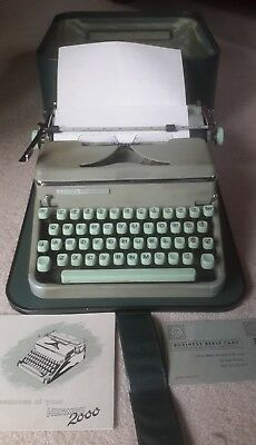 Vintage Hermes 2000 Seafoam Green Typewriter w Manual & carrying case SWISS made