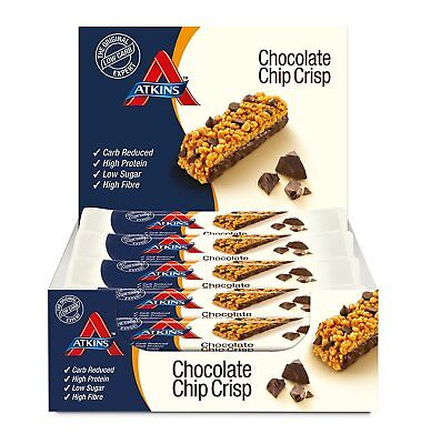 Atkins Chocolate Chip Bars 15 x 30g Crisp Low Carb High Protein Snack Bar