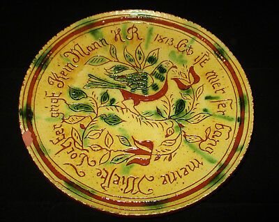 Turtle Creek Potters, Redware Folkart Plate Made By Betty Lou, Morrow Ohio, 2013