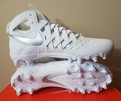 Mens Nike Huarache V 5 Lax Lacrosse Cleats Size 10.5 White Metallic Silver NEW