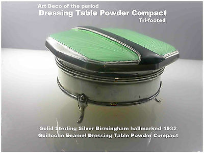 Art Deco Solid Sterling Silver Guilloche Enamel Dressing Table Powder Compact