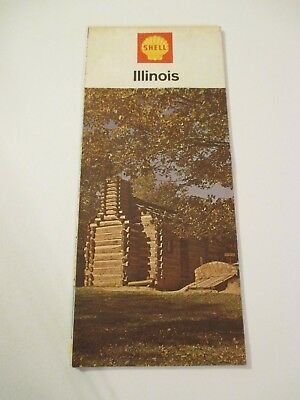 Vintage 1967 Shell Illinois Oil Gas Service Station Road Map