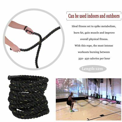 Twisted Battle Power Rope 50mm*12m Sport Fitness Bootcamp Training Anchor SQ