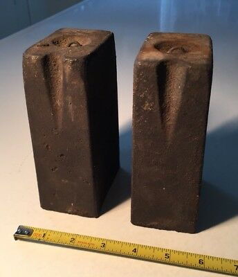Pair Of Antique Iron Clock Weights - Each Weighs 9.4 Pounds