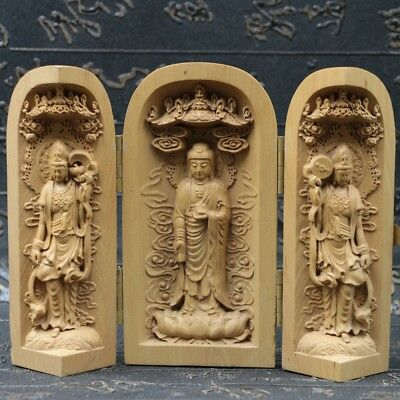 Chinese Boxwood Handmade Carved Three Saints Open Box SK20+b