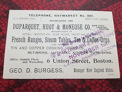 DUPARQUET, HUOT & MONEUSE CO Kitchen Appliances Victorian TRADE CARD BOSTON