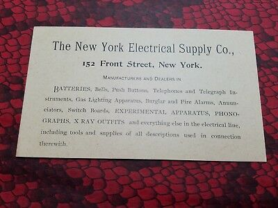 NEW YORK ELECTRICAL SUPPLY CO Victorian Trade Card 1890s Batteries Telephone etc