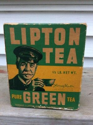 Vintage Lipton's Green Tea Box Half Pound Size UNOPENED Sealed Rare Old Original