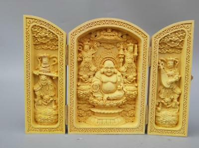 Chinese wood carving Maitreya Buddha four heavenly Kings statue