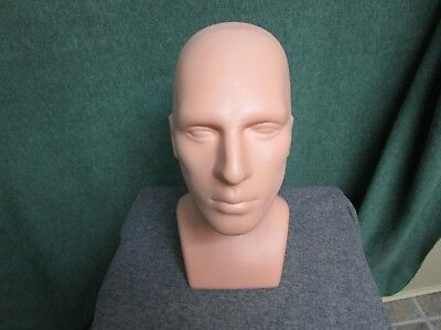 Male Mannequin Head Stand Rigid Plastic For Wigs Hats Jewelry Display Photos