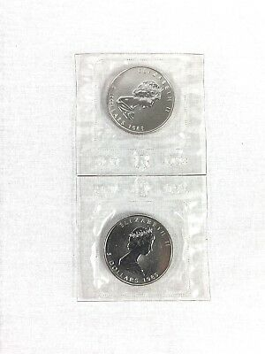 1989 CANADA MAPLE LEAF 1 oz 9999 Fine SILVER Coin - RCM Factory Sealed Lot of 2