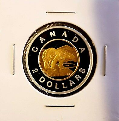2016 Canada $2 Toonie .9999 Fine Silver & Gold Plated Proof