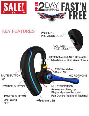 Bluetooth Headset Handsfree Wireless Earpiece Mic Noise Reduction for Cell Phone