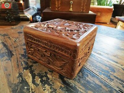 A Small Opening Hardwood Box, All Carved, Indian Origin. Nice Little Box