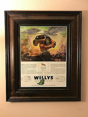 Rare VINTAGE Jeep Willys-Overland Original 1940s Print Ad Art Gift
