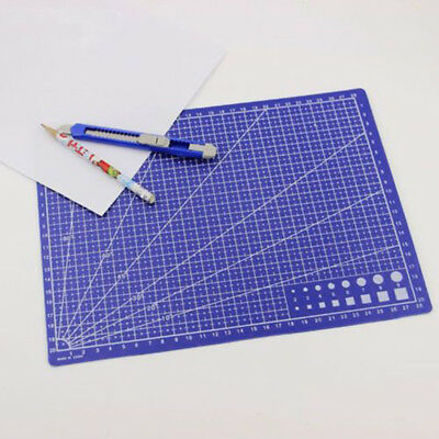 1pc Fabric Leather Paper Board Craft Scale Plate Cutting Mat Grid Lines A4 Blue