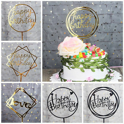 Geometric Happy Birthday Cake Topper Acrylic Birthday Party Decoration Supplies