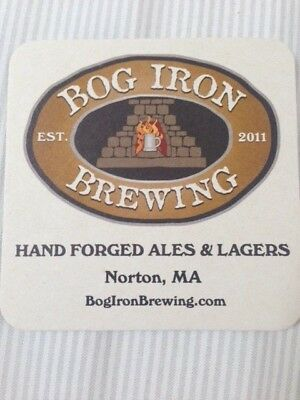 Rare Bog  Iron Brewing Beer Coaster  Mint Condition 1St Time On Ebay Norton Ma