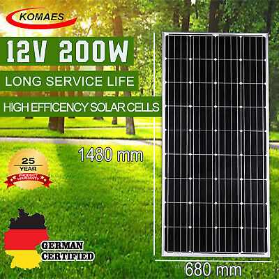 200W 12V Solar Panel Kit House Caravan Camping Power Battery Mono Charging Boat
