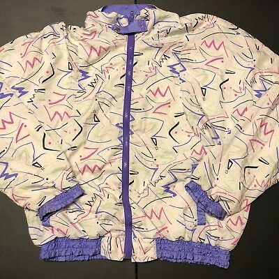 Vintage Women's Neon Print Windbreaker Jacket 80's 90's Fashion All Over Pink