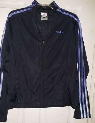 Unisex Authentic Adidas L Zippered with Blue Stripes Jacket