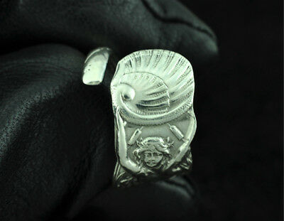 Beautiful 925 Sterling Silver Twin-Tailed Mermaid Melusine Spoon Ring