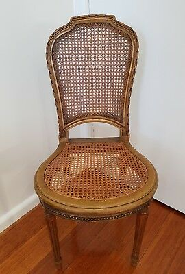 Gold gilt wood antique french rattan boudoir bedroom occasional chair