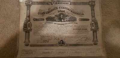 1862 Confederate One Hundred Dollar Bond With Attached Coupons