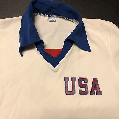 Vintage Champion Jersey Blue Bar Olympics USA 70's 80's RARE Sports Running Man