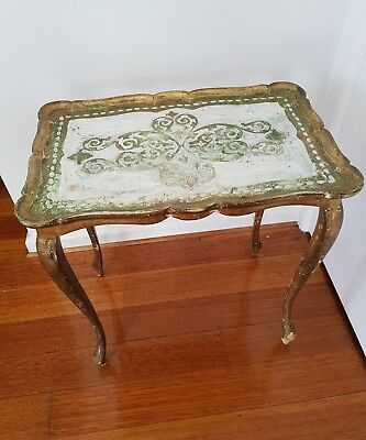 French antique vintage bold side coffee florentine table
