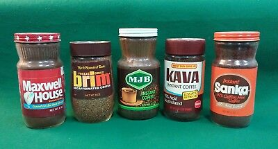 Vintage Freeze Dried Coffee Maxwell House MJB Brim Kava Sanka Sealed Glass Jars