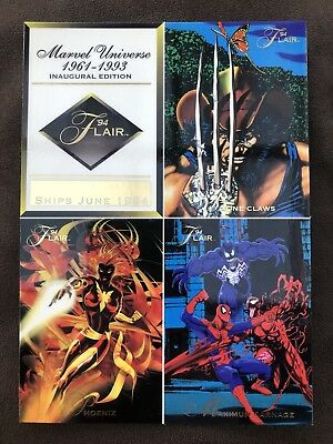1994 Flair Inaugural Edition Marvel Universe Uncut Unnumbered Cards Promo Sheet