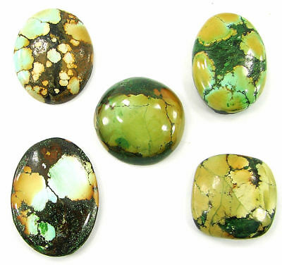 96.05 Ct Natural Tibet Turquoise Loose Cab Gemstone Wholesale Lot 5 Pcs - 20054