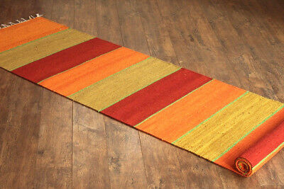 Taluche Handmade 10 Feet Long Multicolour Striped Wool Hallway Runner Rug/Carpet