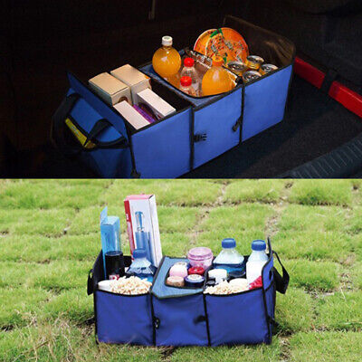 Heavy Duty Collapsible Car Boot Organiser Foldable Shopping Tidy 2-in-1 Storage