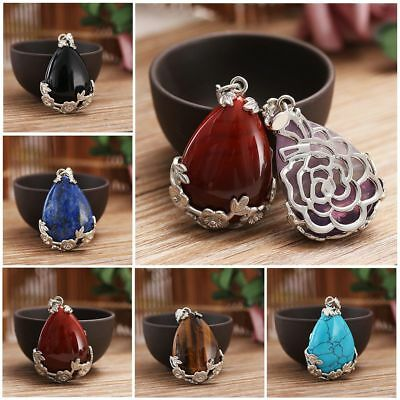 Fashion 15g Natural Quartz Crystal Stone Water Drop Gemstone Necklace Pendant