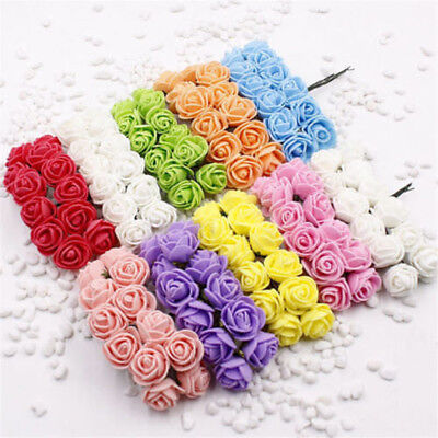 144pcs Mini Foam Rose Artificial Flowers For DIY Wreath Home Wedding Car Decor