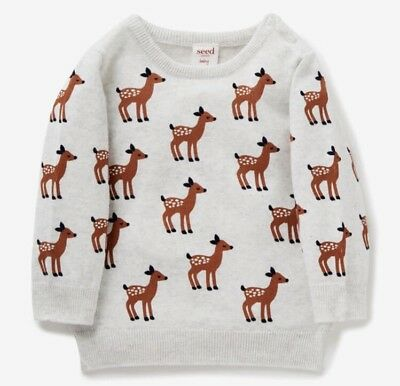 Seed Heritage Baby Deer Yardage Crew Knot Size 6-12 Months RRP$49.95