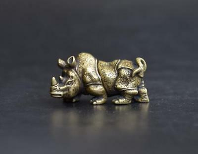 China Handmade Antique Animal Rhinoceros Copper Statuette Amulet Pendant
