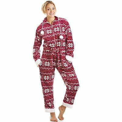 Camille Womens Ladies Red And White Nordic Soft Silk Touch All In One Sleepsuit