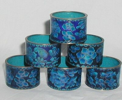 Antique Chinese Cloisonne Enamel Enamelled Set Of Six Napkin Rings Ring