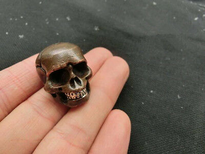 Chinese Hand Carved Nongovernmental  Brass Skull Small Pendant Statuette