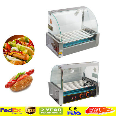 Commercial 7 Roller 18 Hot Dog Hotdog Grill Cooker Machine W/ Cover Easy Use