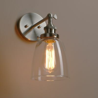 Vintage Rustic Wall Sconce Lamp Cafe Glass Chrome Brass Holder Wall Light