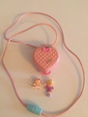 Polly Pocket Mini Baby and Ducky Locket Kettchen 1993 Mama + Baby
