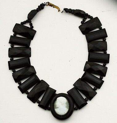 Victorian Necklace Jet Beads Cameo Jewellery Natural Antique Carved Whitby Black