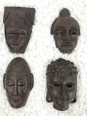 Antique African Tribal Art Carved Wood Wooden Mask Lot of 4