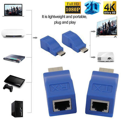 2X 1080P HDMI Extender to RJ45 Over Cat 5e/6 Network LAN Ethernet Adapter to 30m
